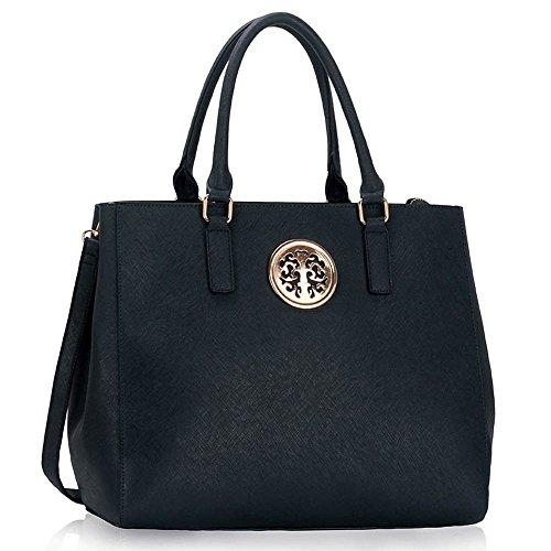 TrendStar Trendstar Damenhandtaschen Der Frauen Schulterbeutel Designer Neue Promi Stil Trage Groß (Lila Trage Bag1) Marine 1