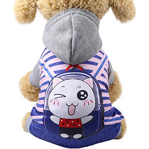 (GNYD Hund Haustier Cartoon Riemen Mit Kapuze Sweatshirts Hund Kleidung Haustierkleidung)