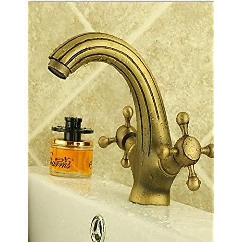 CAC Aqua rubinetto in ottone antico Dual gestisce Centerset lavandino
