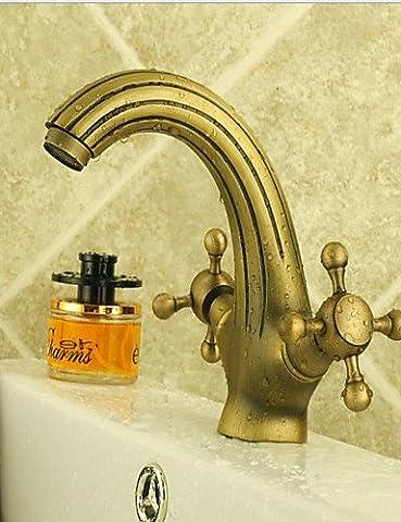 YFF@Aqua faucet Antique Brass Dual Handles Centerset Bathroom Sink Faucet , brown