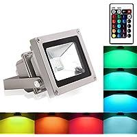 [Patrocinado]Blinngo 10W RGB Foco LED Proyector de Exterior impermeable IP65 LED Foco de Colores Adaptado para Decoración de Jardín Parque Hotel Terraza