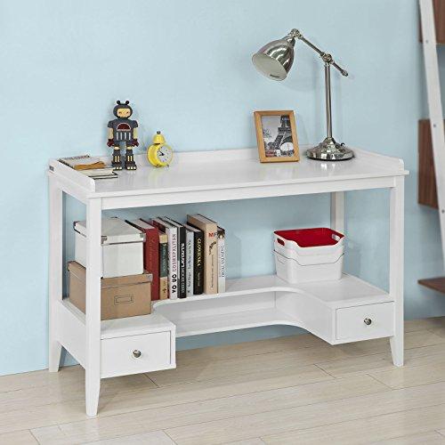 Sobuy® scrivania,tavolo consolle,tavolo per computer,con due cassetti,bianco,fwt37-w,it
