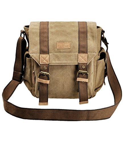 ZLYC Briefträgertasche für Herren aus Segeltuch hoher Dichte im Vintage-Stil, mit Zubehör aus echtem Leder, Breite:28 cm Höhe:28 cm Stärke:12 cm, Khaki - Retro Khaki