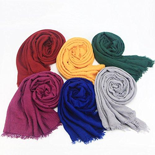 mioim Damen Muslim Islamischen Hanfstoff Kopftuch Schal Kopfbedeckungen Einfarbig in vielen Farbe 180x95cm - 6