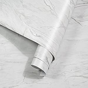 Klebefolie Marmor Folie Selbstklebende Möbelfolie DIY Vinyl Dekofolie Aufkleber Tapete Wasserfest PVC für Möbel Küchenschrank Tisch Feuchtigkeitsbeständig Anti-Öl 44.5 x 200 cm