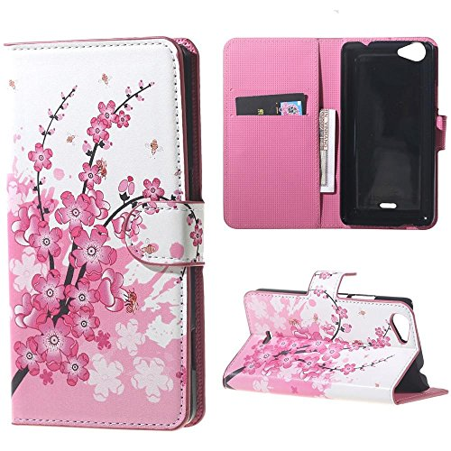 Wiko Rainbow JAM Case Cover - PU Leder Schutzhülle für Wiko Rainbow Jam (5 Zoll) Brieftasche Handyhülle Etui Schalen mit Kartenfächern & Standfunktion - Rosa Blume