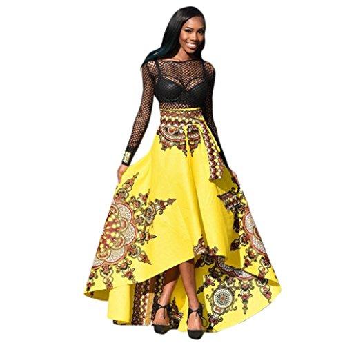 Elecenty Damen Boho Maxirock Strandrock Partykleid Sommer Rock Mädchen Blumen Drucken Kleider Frauen Mode Kleid Minirock Kleidung Abendrock (XL, Gelber)