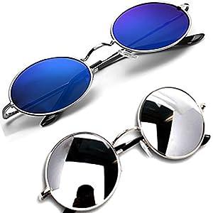 Y&S Round Women's Men's Boy's Girl's Pack Of 2 Sunglasses (Ys-Rdbm-Rdssm|Multicolor|55)