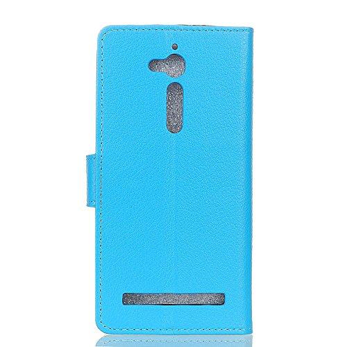 Klassische Litchi Texture PU Leder Schutzhülle Hülle Folio Flip Stand Case Cover mit Kartensteckplätzen für Asus Zenfone GO ZB500KL ( Color : Black ) Blue