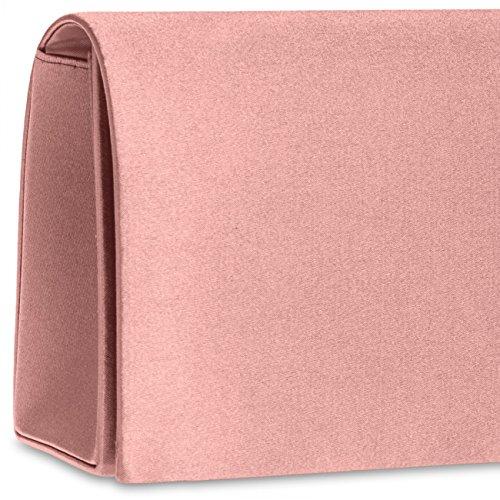 CASPAR TA278 Donna Pochette in Raso rosa antico