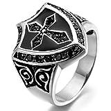 Adisaer Ringe Silber Verlobung Ringe Silber Stein Punk Schwarz Silber Schild Kreuz Diamant Zirkonia Ring Größe 67 (21.3) Vintage Bandringring Hip Hop Jahr Ring Für Junge