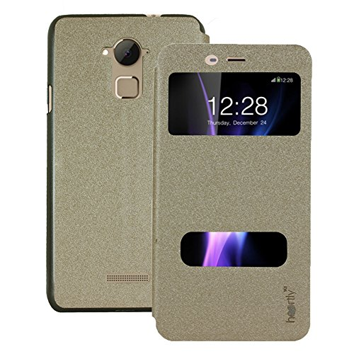Heartly GoldSand Sparkle Luxury PU Leather Window Flip Stand Back Case Cover For Coolpad Dazen Note 3 - Hot Gold