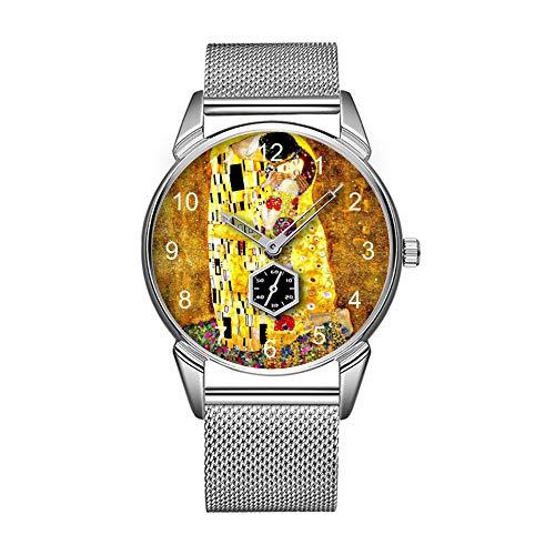 Mode wasserdicht Uhr minimalistischen Persönlichkeit Muster Uhr -501. Klimt-der Kuss