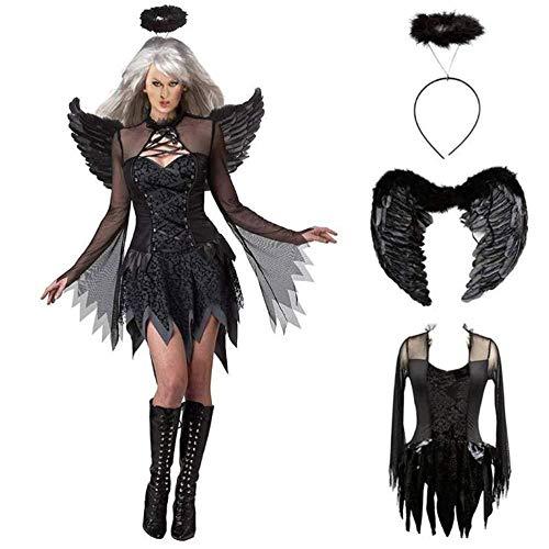 Kostüm Angel Black Mann - YYANG Halloween Cosplay Demon Kostüm Black Night Angel Kostüm Party Dark Angel Kostüm Inkl. Rock,X-Large