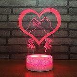 3D Lampara Led Luz Ilusión óptica Botón táctil color o 7 colores cambiar gradualmente Decoración del dormitorio del bebé regalo del día de San Valentín sueño asistido amare