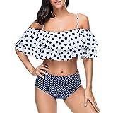 KItipeng Damen RetroTupfen Bikini Set Gepolsterter Ausschnitt Krawatte Blumendruck Rüschen plissiert Tankini Swimsuit