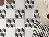Fliesenbelag | Design-Dekorsticker Küchenfolie Bad-Fliesen Badgestaltung | 20x20 cm Muster Ornament 3D Marmor Cubes - 9 Stück