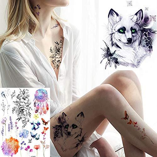 CIHKIKO 5 stücke Frauen Blumen Tattoos Tattoo Schmetterling Aufkleber 3D Gefälschte Sexy Weiß EIS Schnee Fuchs Körper Tattoo Arm Art