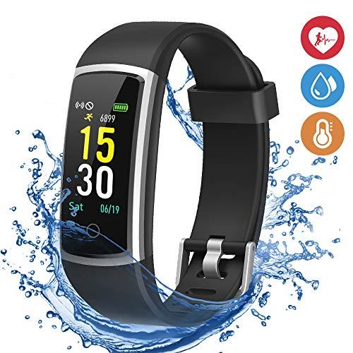 moreFit Fitness Armband mit Pulsmesser,Wasserdicht IP68 Fitness Tracker Farbbildschirm Aktivitätstracker Schrittzähler Uhr Blutdruck mit 14 Trainingsmodi Vibrationsalarm Anruf SMS Beachten