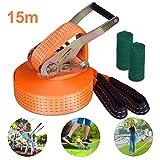 Slackline Kit avec des protecteurs d'arbre et sac de transport, 15m, facile à installer,avec l'instructions, parfait pour les enfants et la famille jouer en plein air