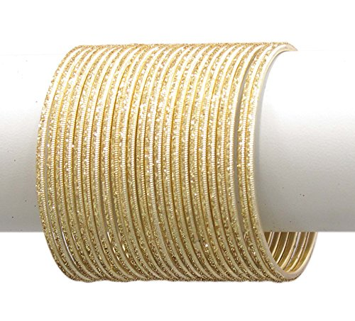 MUCH MORE Set Of 24 Base Metal made Plain Bangle Women Jewellery(Golden) (2.8)