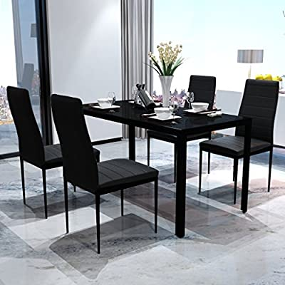 Black Dining Table With Glass Top and Metal Frame - inexpensive UK light store.