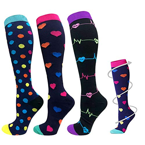 Kompression Socken für Männer & Frauen–3Paar–Beste für Running, Medical, Sport, Flight Reisen, Schwangerschaft–20–25mmHg