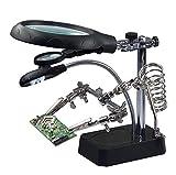 Lupa de la lámpara del escritorio, mantenimiento del reloj de la placa base, banco de trabajo auxiliar de la abrazadera del PDA, tipo multifuncional del soporte (Color : Negro)