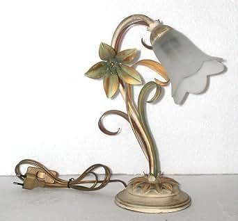 abat jour da comodino : Lampada abat jour da comodino giglio 1 luce in ferro con foglie decoro ...