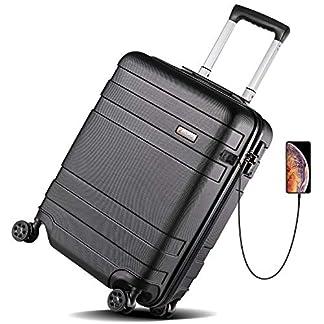 Reyleo – Maleta de Cabina con 8 Ruedas giratorias, USB Puerto, Cerradura TSA, Ligera, antigolpes, Resistente a los arañazos, Gris, 55 cm/32 L Gris Gris Small