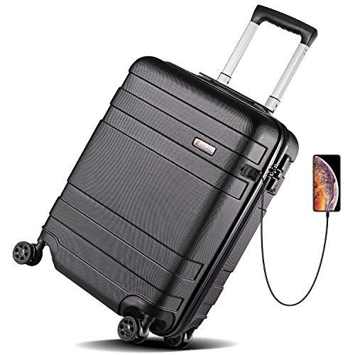 REYLEO Maleta Cabina Rígida 21' Equipaje de Mano con Puerto de Carga USB, Candado TSA, 4 Ruedas Silenciosas, LUG20C (55 X 38 X 24CM - 36L)