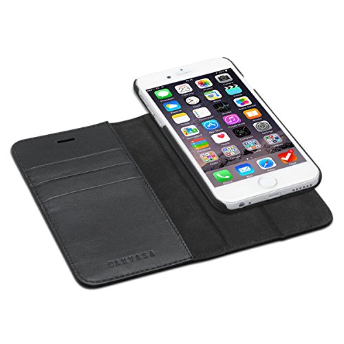 KANVASA iPhone 6 / 6s Ledertasche 2 in 1 Lederhülle Schwarz Luxus Echtleder Hülle Leder Tasche Flip Cover für Original Apple iPhone 6/6s - Wallet Case mit herausnehmbarem Backcover - Apple Wallet