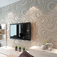 Idea Regalo - Hanmero - Carta da parati 3D in tessuto non tessuto con motivo astratto moderno e minimalista, Tessuto, bianco, 0,7 x 8,4 m pollici