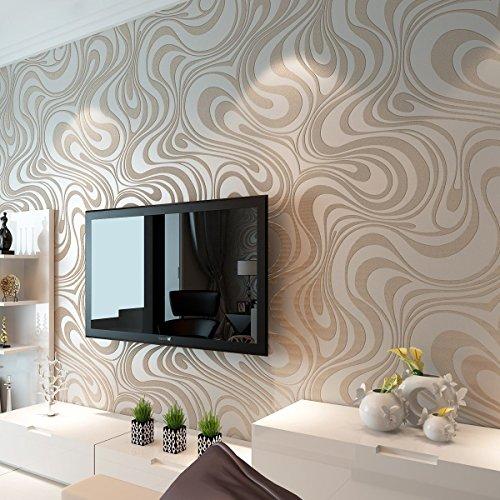 Europa HANMERO?moderne Vliestapete Curve Dual-Version Schaum Sonne Gold Umweltfreundlichkeit Mustertapete 8.4m*0.7m hell braun&beige-wei? f¨¹r Fernsehhintergrund, Wohnzimmer, Schlafzimmer, Sofahintergrund, Hotel