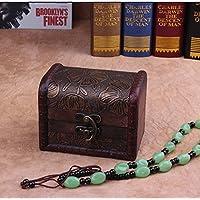 ZRO legno antico Storage Box Baule del tesoro Gioielli Organizzatore Ragazze segreto regalo per Natale/compleanno - Antico Di Trinket