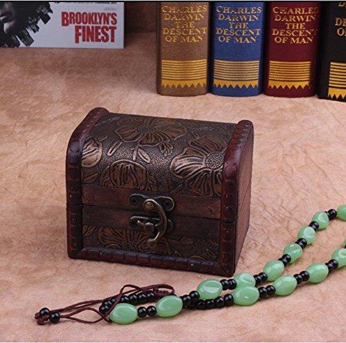 ZRO legno antico Storage Box Baule del tesoro Gioielli Organizzatore Ragazze segreto regalo per Natale/compleanno