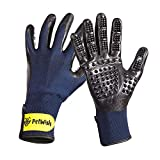 Petwington Pet Grooming Gloves - Dog, Cat, Horse Glove Brush, Long Short Hair Remover, Small, Large Pets Groomer, Fur Removal Mitt, Rubber Curry Comb Mit, Hand Brushing Removing Cleaning Kit, Pair (S)