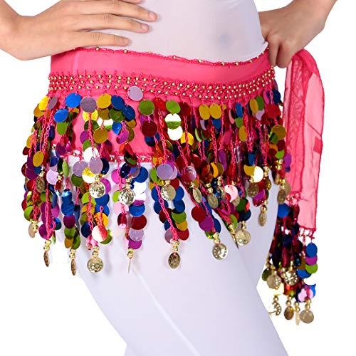 Bunten Tanz Kostüm - Bauchtanz Hüfttuch Rock Gürtel Taille Kette mit goldenen Münzen und bunten Pailletten, Tanz Outfits Rave Music Festival Kostüm für Frauen (Rose-Rot)