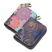 LIZIMANDU 2 Pack RFID Credit Card Holder Wallets Case Leather for Women Leather Zipper Card Case for Ladies Girls Women(2-Flower)