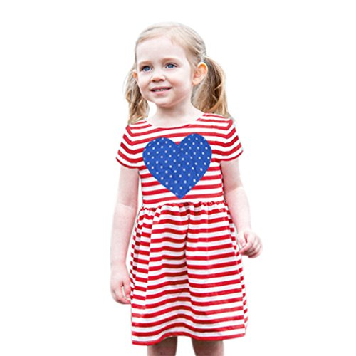 Baby Kleider JYJM Lovely Girls Striped Stars Herz Muster Kleid Kleidung Outfits (Size:3 Jahre, (2017 Kostüme Stars)