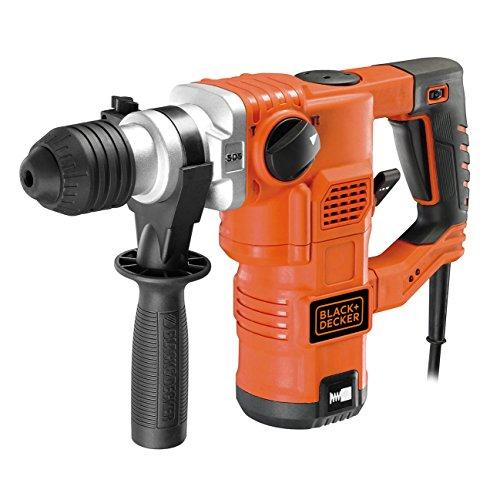 Black+Decker pneumatischer Bohrhammer KD1250K / Kraftvoller SDS-Bohrhammer mit Zweithandgriff und 3,5 J Schlagenergie zum Bohren, Hammerbohren & Meißeln / 1 x Schlagbohrhammer 1250 W