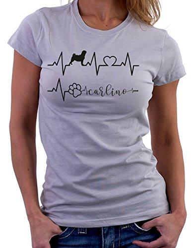 Tshirt Elettrocardiogramma Carlino - I love Carlino - cani - dog - love - humor - tshirt simpatiche e divertenti Grigio