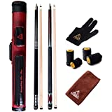 CUESOUL Combo Set Of House Bar Pool Cue Sticks - 2 Cue Sticks Packed In 2x2 Hard Pool Cue Case E201