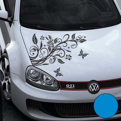 A456 Blumenranke Autoaufkleber + 3 Schmetterlinge 77cm x 50cm hellblau (Farb-/Größenwahl)