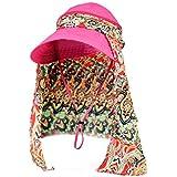 Dwayne C Women's Sun Hats Roll up Wide Brim Sun Visor UPF 50+ UV Protection Beach Straw Hat Visor Hat