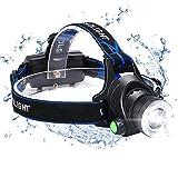 flintronic LED-pannlampa, USB-laddningsbar COB strålkastare med ett huvud, IP64 vattentät zoombar 3 lägen 90 ° roterande 800 lumen strålkastare för löpning/cykling/fiske/camping (2 x 18650 batteri ingår)