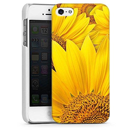 Apple iPhone 5s Housse Étui Protection Coque Tournesols Fleur Jaune CasDur blanc
