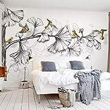 Fototapete 3D Schwarzweiß Ginkgo Blätter Vögel Wandbilder Schlafzimmer Wohnzimmer TV Sofa Hintergrund Wandmalerei Wohnkultur 3D