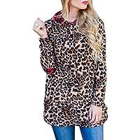 Preisvergleich für Lange Pullover CLOOM Damen Langarmshirt Lose Bluse Langarm Sweatshirt Oversize Oberteil Rundkragen Leopard Langärmlig...