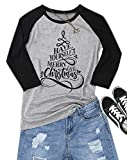 For G and PL Women's Christmas Raglan Graphic Tee Tops